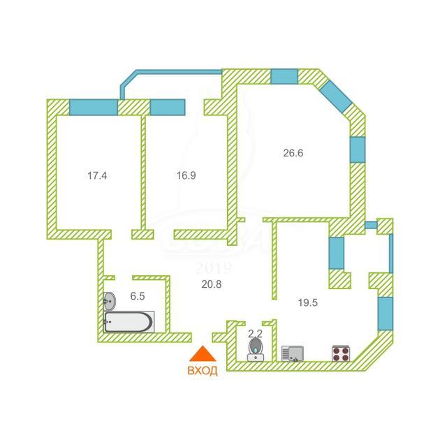 3 комнатная квартира  в районе Южный 2/ Чаплина, ул. Демьяна Бедного, 104/1, г. Тюмень