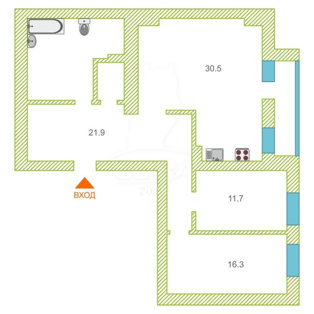 3 комнатная квартира  в районе ТЦ Магеллан, ул. 50 лет Октября, г. Тюмень