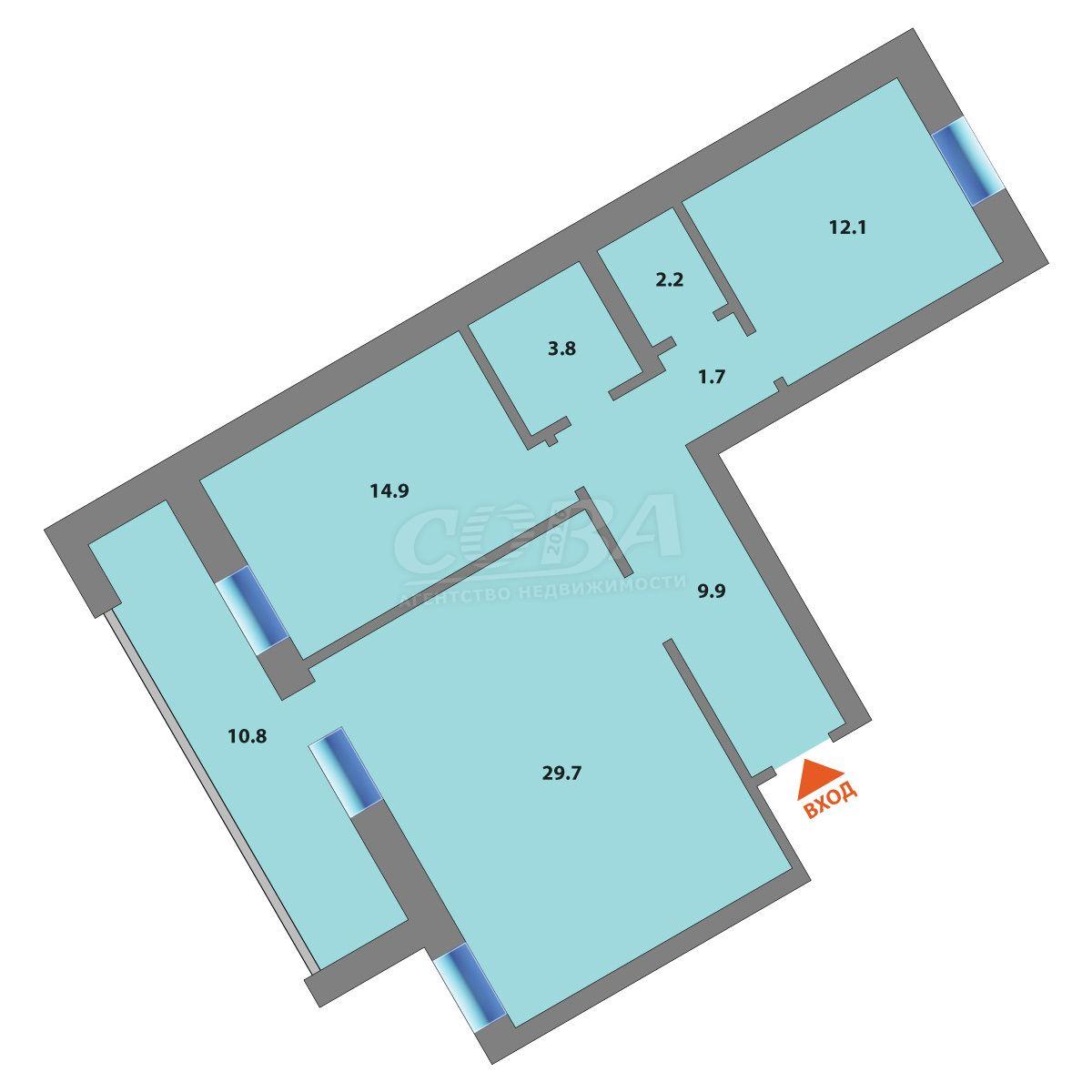 3 комнатная квартира  в районе Тарманы, ул. Газопромысловая, 4, Жилой квартал «Новый мыс 2.0», г. Тюмень