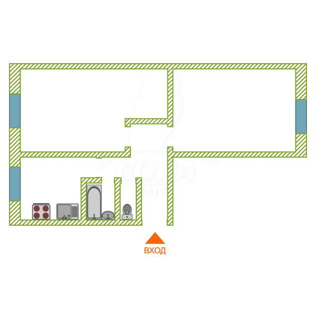 2 комнатная квартира  в районе ММС, ул. 70 лет Октября, 18А, г. Тюмень