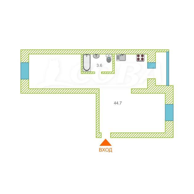 1 комнатная квартира  в районе Югра, ул. Мамина-Сибиряка, 20, г. Тюмень