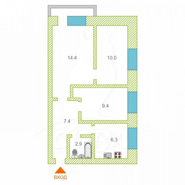 3 комнатная квартира  в районе студгородка, ул. Курская, 3, г. Тюмень
