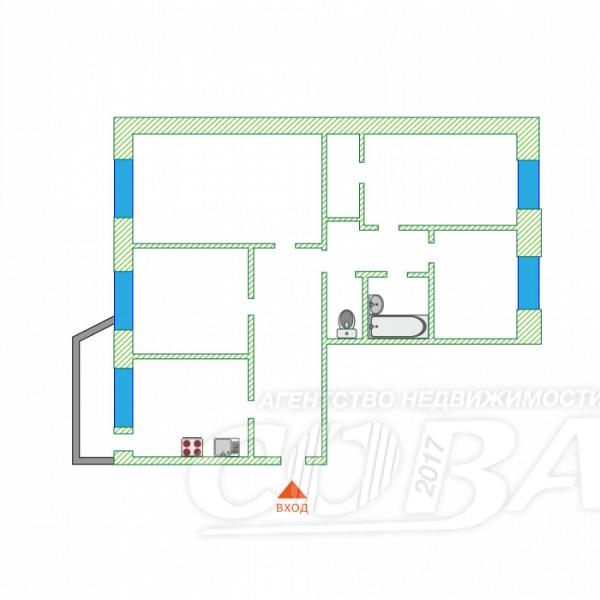 4 комнатная квартира  в районе Центральный, ул. Лермонтова, 2, г. Сургут