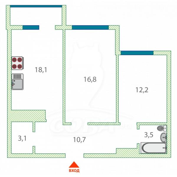 2 комнатная квартира  в Тюменском-4 мкрн., ул. Николая Зелинского, 17, ЖК «Семейный-2», г. Тюмень
