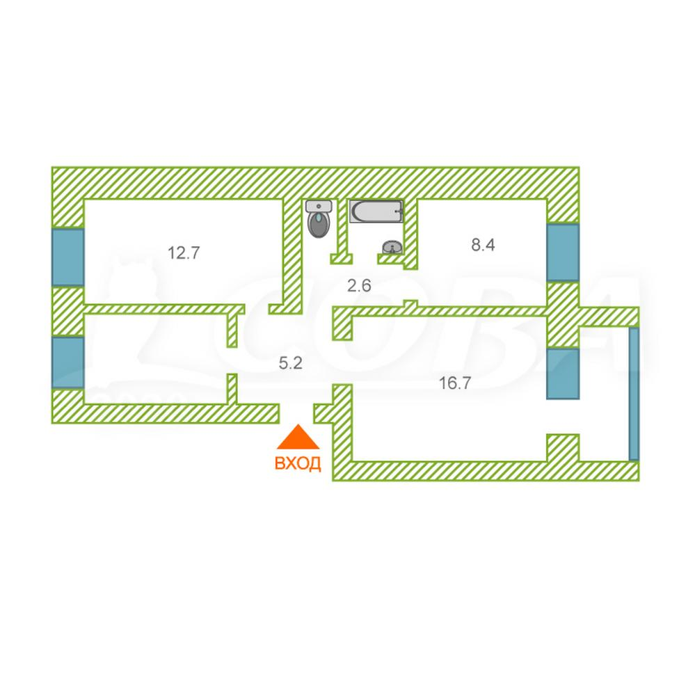 3 комнатная квартира  в районе Новосеверный, ул. Отдыха, 44, г. Курган