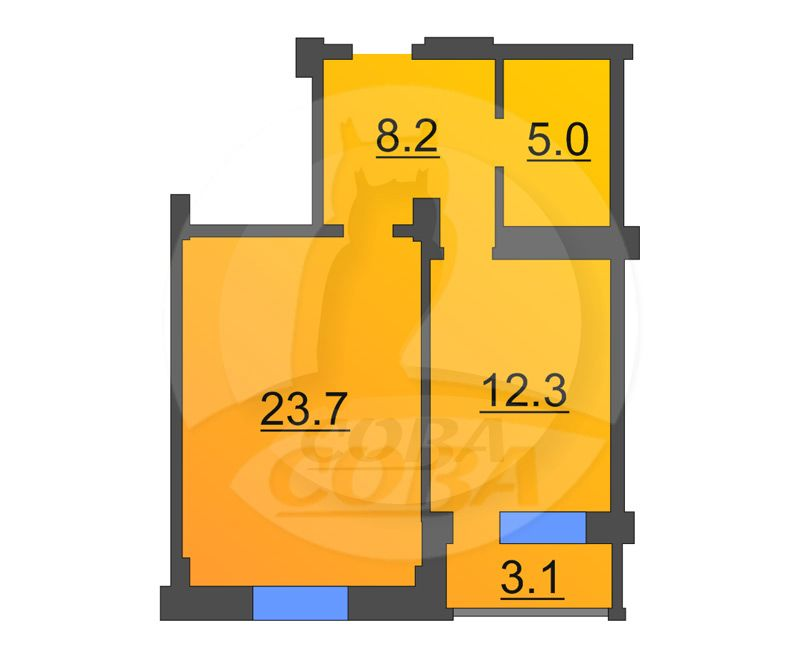 1 комнатная квартира  в Восточном 2 мкрн., ул. Широтная, 191, г. Тюмень