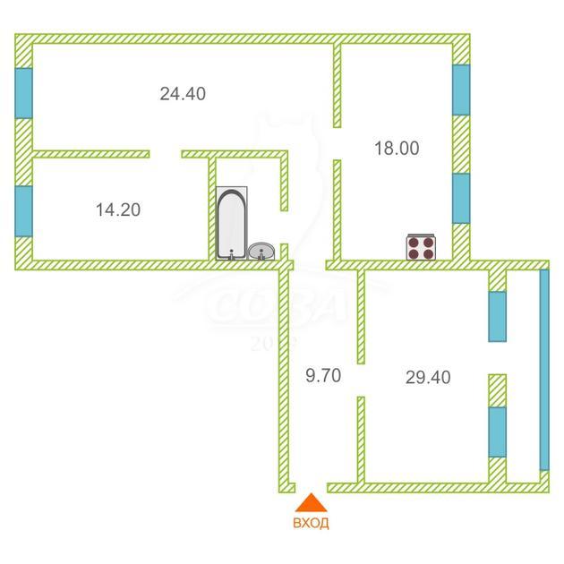 3 комнатная квартира  в 4 микрорайоне, ул. 30 лет победы, 44/1, г. Тюмень