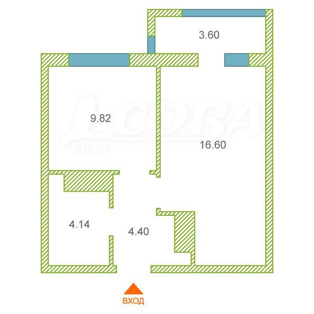 1 комнатная квартира  в новом доме,  в районе Тюменская Слобода, ЖК «Преображенский на Московском», д. Дударева