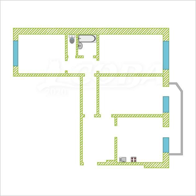 3 комнатная квартира  в Восточном мкрн., ул. Широтная, 129/2, г. Тюмень