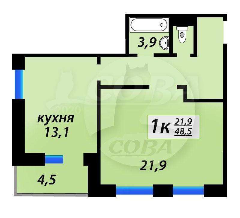 1 комнатная квартира  в Тюменском-4 мкрн., ул. Николая Зелинского, 1, Жилой квартал «на Федорова», г. Тюмень