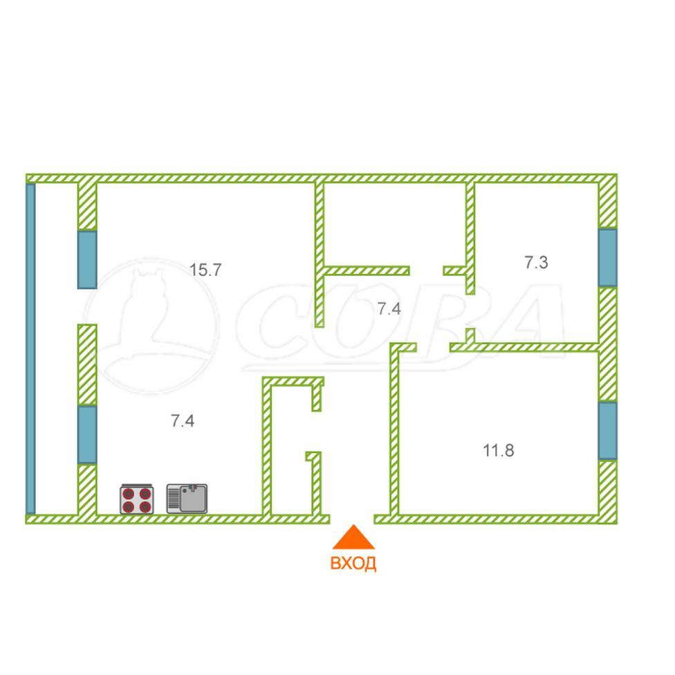 3 комнатная квартира  в районе Центральная часть, ул. Строителей, 4, п. Богандинский