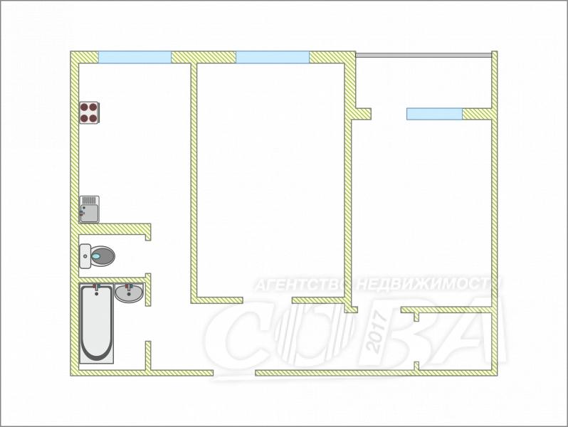 2 комнатная квартира  в районе Нагорный Тобольск, ул. 8-й микрорайон, 16, г. Тобольск