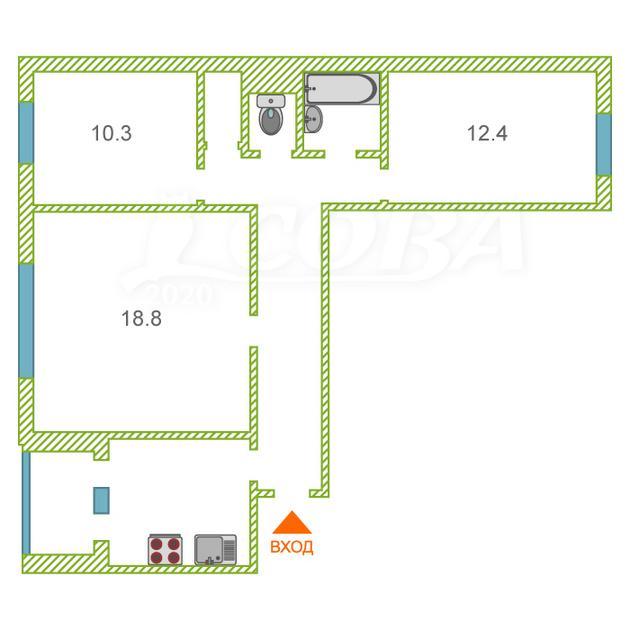 3 комнатная квартира  в Заречном 3 мкрн., ул. Муравленко, 35, г. Тюмень