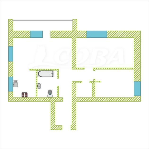 3 комнатная квартира  в Заречном 3 мкрн., ул. Эрвье, 12, г. Тюмень