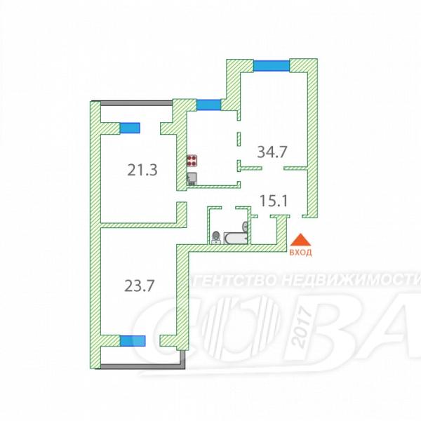 3 комнатная квартира  в Восточном 2 мкрн., ул. Широтная, 171/1, г. Тюмень