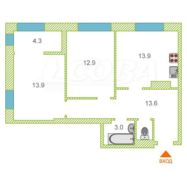 2 комнатная квартира  в районе ул.Елизарова, ул. Мельникайте, 36/1, ЖК «Правобережный», г. Тюмень