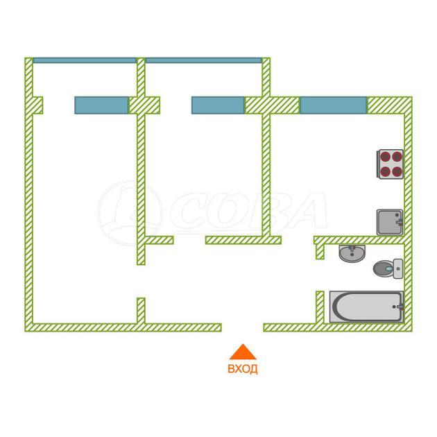 2 комнатная квартира  в районе пос. Таёжный, ул. Аэрофлотская, 50А, г. Сургут