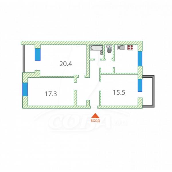 3 комнатная квартира  в районе ул.Малыгина, ул. Мурманская, 65, г. Тюмень