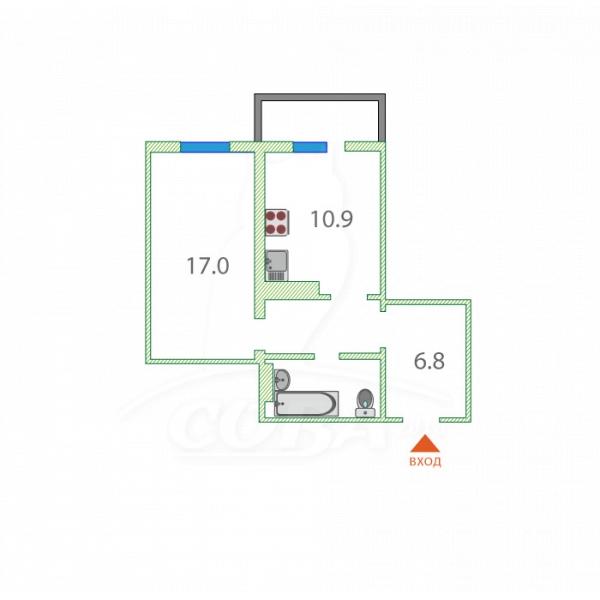 1 комнатная квартира  в районе Мыс, ул. Судоремонтная, 28, г. Тюмень