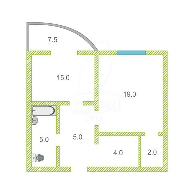 1 комнатная квартира  в районе КПД (Харьковская), ул. Харьковская, 64, Жилой комплекс «Центральный», г. Тюмень