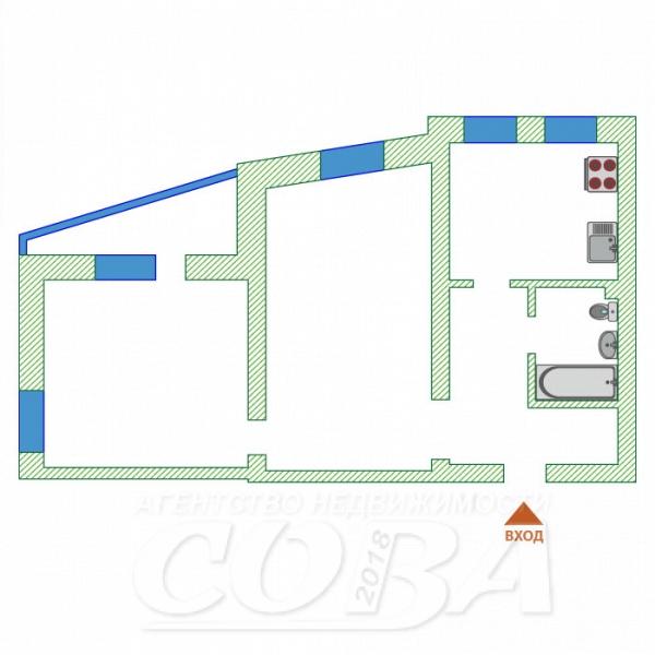 2 комнатная квартира  в 1 микрорайоне, ул. Олимпийская, 10, г. Тюмень