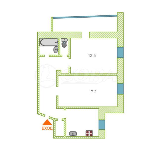 2 комнатная квартира  в Заречном 2 мкрн., ул. Заречный проезд, 2, г. Тюмень