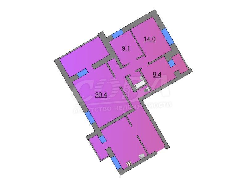 4 комнатная квартира  в районе Югра, ул. Велижанская, 72, г. Тюмень