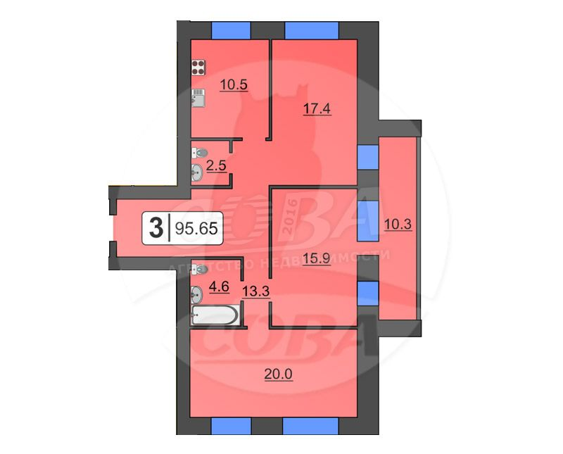 3 комнатная квартира  в районе Дом Обороны, ул. Полевая, 105/4, Жилой комплекс «Олимпия», г. Тюмень