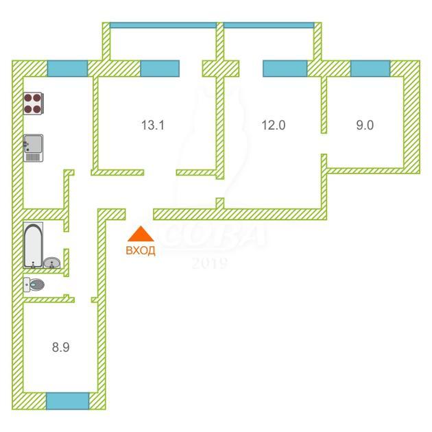 4 комнатная квартира  в районе Дом Обороны, ул. Полевая, 25, г. Тюмень