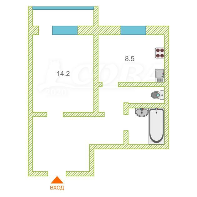1 комнатная квартира  в центре Тюмени, ул. Достоевского, 9, г. Тюмень