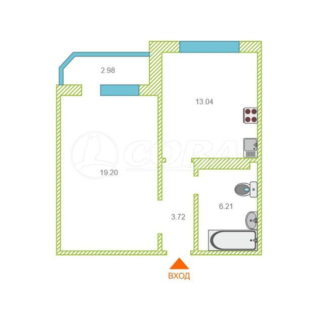 1 комнатная квартира  в районе Ожогина / Патрушева, ул. Федюнинского, 56, ЖК «Ново-Патрушево», г. Тюмень