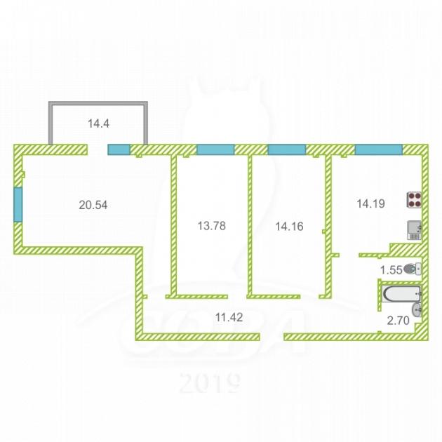 3 комнатная квартира  в районе Раздольное, ул. Тепличная, 98, ЖК «Министерские Озера», г. Сочи