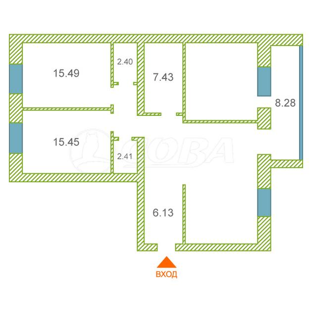 3 комнатная квартира  в Тюменском-3 мкрн., ул. Раушана Абдуллина, 3, ЖК «5-й Квартал», г. Тюмень