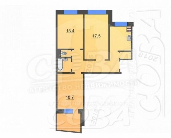 3 комнатная квартира  в районе Войновка, ул. Боровская, 5, г. Тюмень
