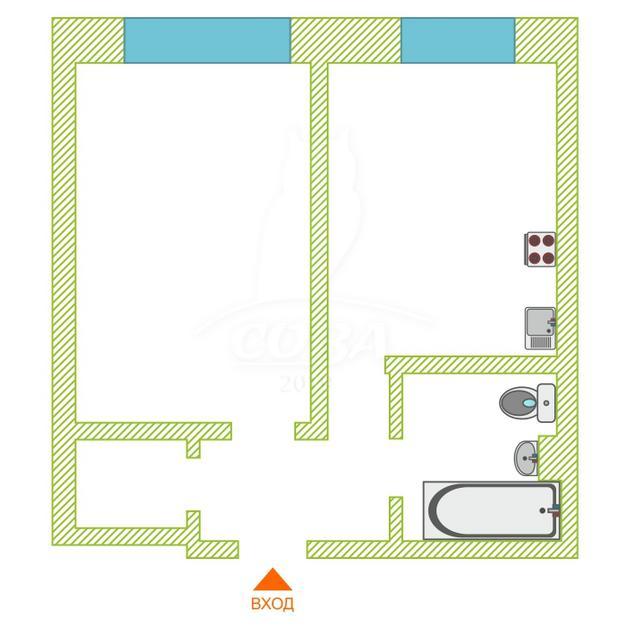 1 комнатная квартира , ул. Мира, 7, с. Мальково