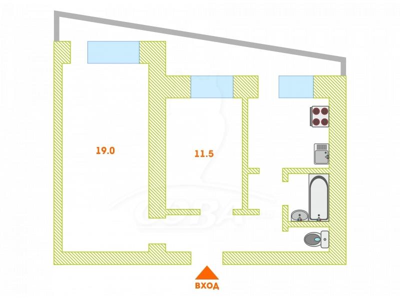 2 комнатная квартира  в районе Драмтеатра, ул. Республики, 92, г. Тюмень