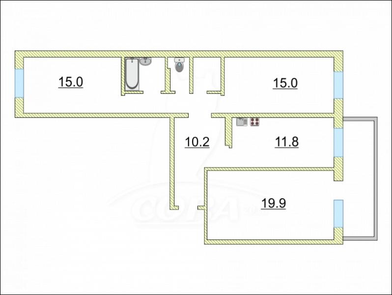 3 комнатная квартира  в районе Войновка, ул. Малая Боровская, 38, г. Тюмень