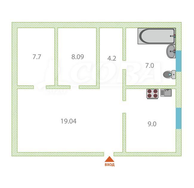 2 комнатная квартира , ул. Строителей, 6, с. Мальково