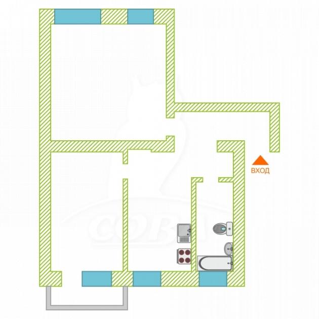 2 комнатная квартира  в районе ТЦ «Премьер», ул. Котовского, 16, г. Тюмень