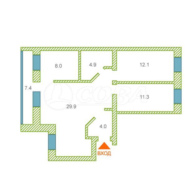 3 комнатная квартира  в районе Червишевского тр., ул. Молодежная, 28, г. Тюмень