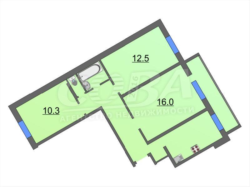 3 комнатная квартира  в районе ул.Елизарова, ул. Холодильная, 11, г. Тюмень