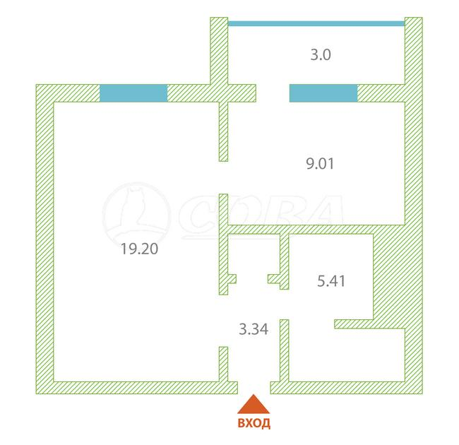 1 комнатная квартира  в районе Ожогина / Патрушева, ул. Федюнинского, 58, ЖК «Ново-Патрушево», г. Тюмень