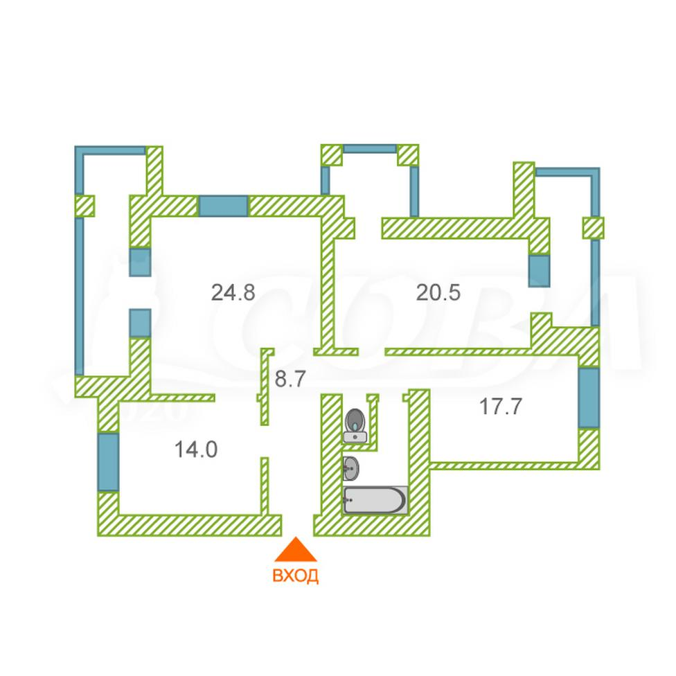 3 комнатная квартира  в районе Червишевского тр., ул. Червишевский тракт, 94/1, г. Тюмень