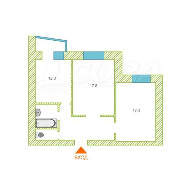2 комнатная квартира  в районе Центральный, ул. проспект Ленина, 26, г. Сургут