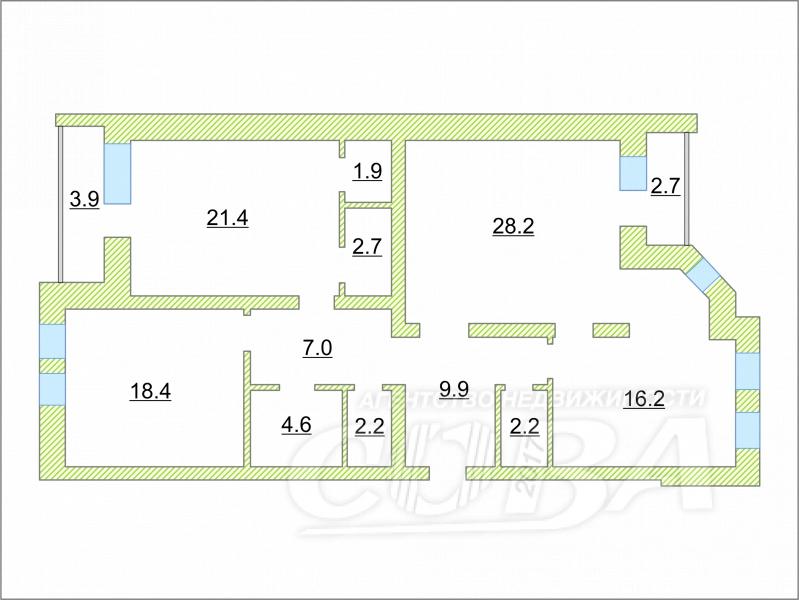 3 комнатная квартира  в 5 микрорайоне, ул. Николая Федорова, 9, ЖК «Green House» / Грин хаус, г. Тюмень