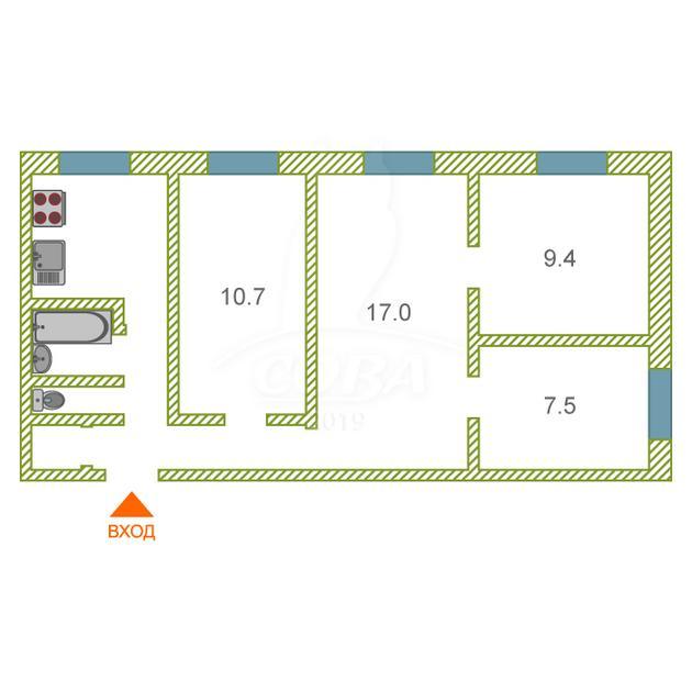4 комнатная квартира  в районе Тараскуль, ул. Санаторная, 1, г. Тюмень