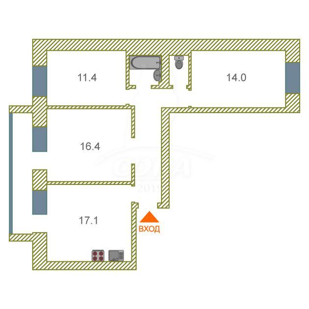 3 комнатная квартира  в районе Югра, ул. Щербакова, 140, г. Тюмень