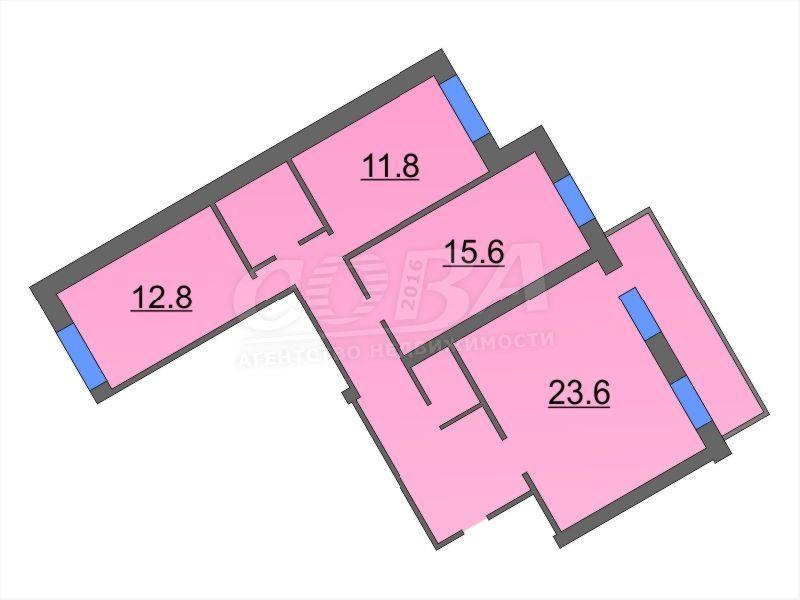 3 комнатная квартира  в Заречном мкрн., ул. Муравленко, 17, г. Тюмень
