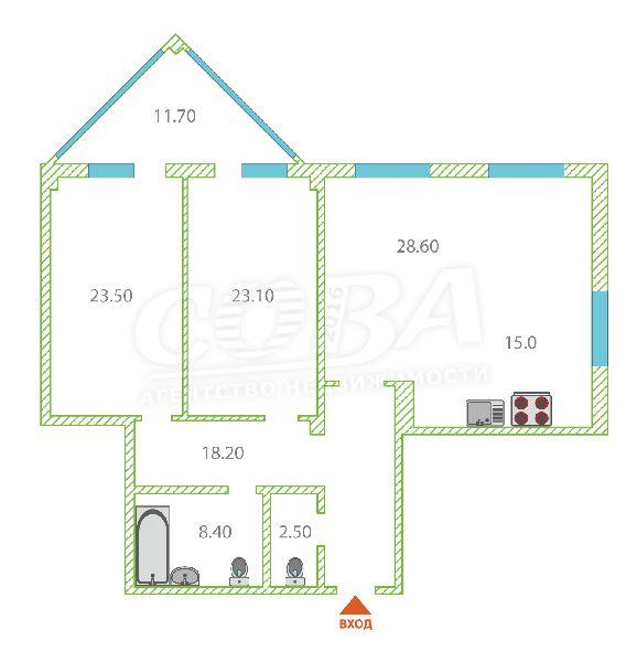 2 комнатная квартира  в центре Тюмени, ул. Первомайская, 34, г. Тюмень