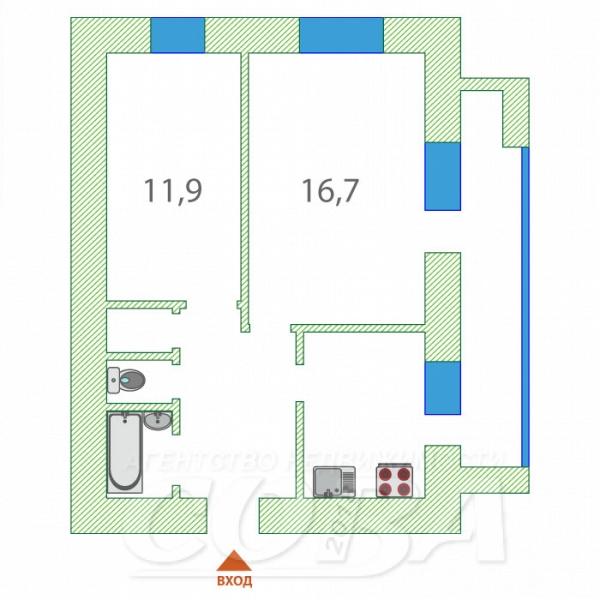 2 комнатная квартира  в районе КПД (Геологоразведчиков), ул. 50 лет ВЛКСМ, 93А, г. Тюмень
